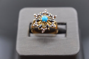 "22k 22ct Solid Gold ELEGANT Antique Ladies Stone Ring SIZE 6.5 ""RESIZABLE"" r1127"