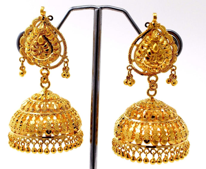 22k 22ct Jewelry Solid Gold ELEGANT LONG JHUMKE DANGLING Earring e5102 | Royal Dubai Jewellers