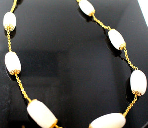 22k 22ct Chain Yellow Solid GORGEOUS MOON STONE Necklace Unique 20 inch c874