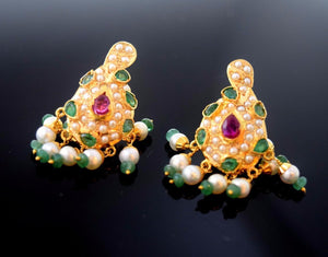 22k 22ct Solid Gold ELEGANT PEARL RUBY EMERALD STONE PENDANT SET EARRING s114 | Royal Dubai Jewellers