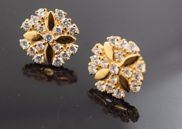 22k 22ct Solid Gold ELEGANT ROUND SHAPE STONE STUD EARRING Diamond Cut e565