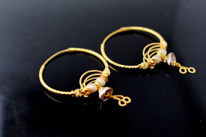 22k 22ct Solid Gold ELEGANT Large Hoops Earring Two Tone Modern Design e5187