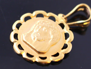 22k 22ct Solid Gold Christian Jesus Pendant Charm Locket Diamond Cut p752