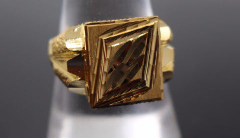 "22k Solid Gold ELEGANT MEN Sikh Religious Ring Exquisite Design ""RESIZABLE"" R520"
