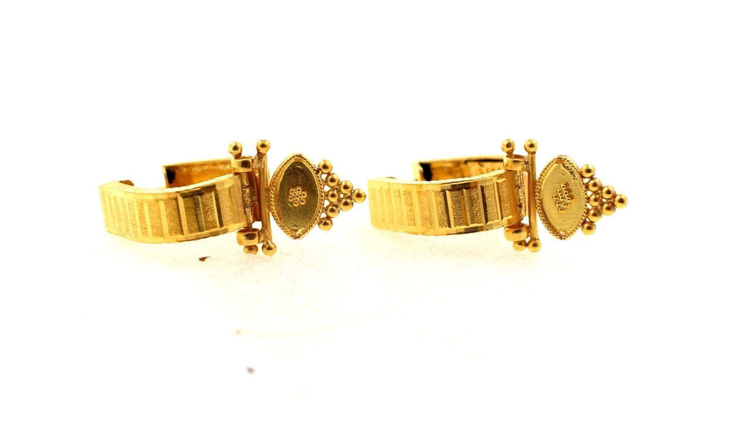 22K 22ct Gold INDIAN MUGHAL WITH click-top closures HOOP BALI EARRINGS E5407