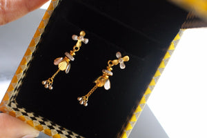22k 22ct Solid Gold ELEGANT EARRINGS Floral Dangle Design Two Tone E5071 | Royal Dubai Jewellers