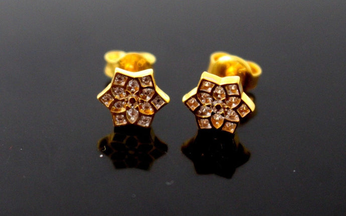 22k 22ct Solid Gold CUTE SMALL STAR SHAPE GOLD EARRINGS STUDS e5318