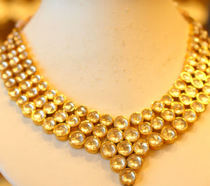 22k 22ct Solid Gold Elegant Traditional Kundan Set Necklace with STONE KS118 | Royal Dubai Jewellers