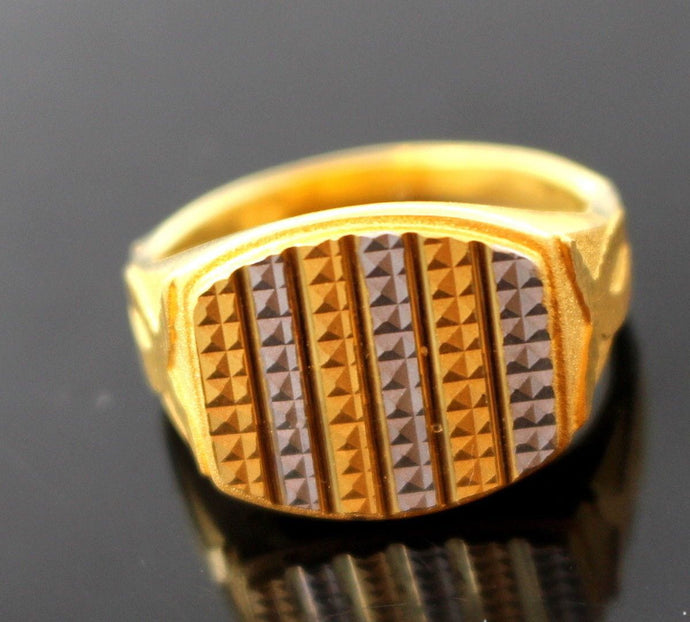 22k 22ct Solid Gold ELEGANT MENS RHODIUM Ring SIZE 9.2