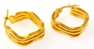 22k 22ct GOLD BEAUTIFUL DESIGNER HOLLOW HOOP EARRINGS E5820