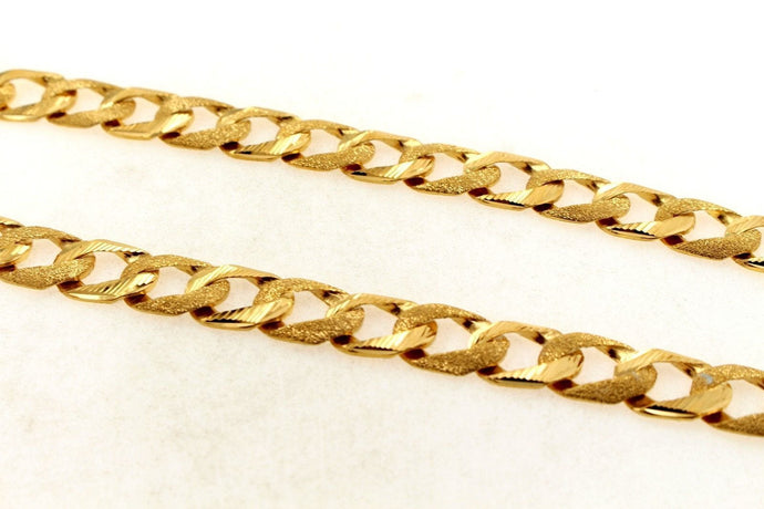 22k Chain Yellow Solid Gold Rope Necklace Simple Cuban Link Design 22 inch c697