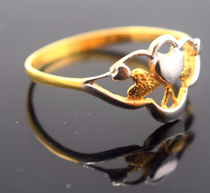 22k Jewelry Solid Gold ELEGANT Ring Charm Modern Design