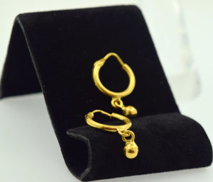 22k Solid gold ELEGANT Hoop EARRINGS Hanging With Ball E409