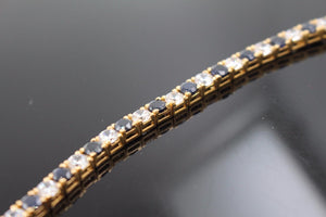 22k Jewelry Solid Gold ELEGANT Onyx Bracelet Size 7 B351 | Royal Dubai Jewellers
