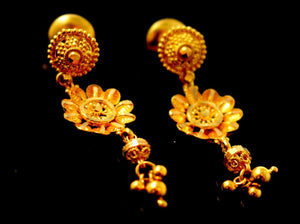 22k 22ct Solid Gold ELEGANT LONG FLOWER TRADITIONAL FILGREE EARRINGS e5326