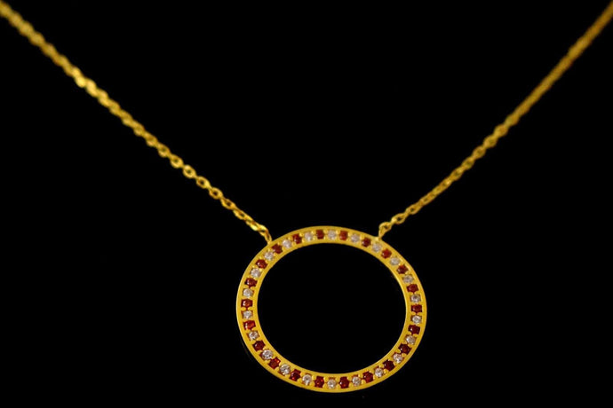 22k 22ct Gold Yellow BEAUTIFUL THIN LIGHT CHAIN WTH PENDANT LENGHT 18 c769 - Royal Dubai Jewellers