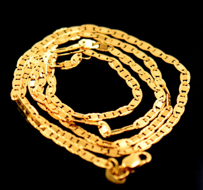 22k Yellow Solid Gold Chain Rope Design Necklace 1.0 mm Modern Design c260