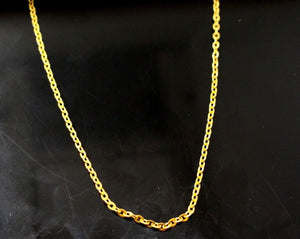 22k Yellow Solid Gold Elegant Chain Round Link Simple Design 14 Inch c616a