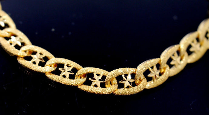 22k 22ct Solid Gold ELEGANT MEN DESIGNER WIDER BROAD BRACELET B873 | Royal Dubai Jewellers