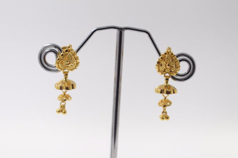 22k 22ct Solid Gold ELEGANT EARRINGS Floral Dangle Design E5063