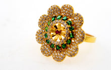 "22k 22ct Solid Gold emerald ruby flower Designer ring band ""RESIZABLE"" R1617"