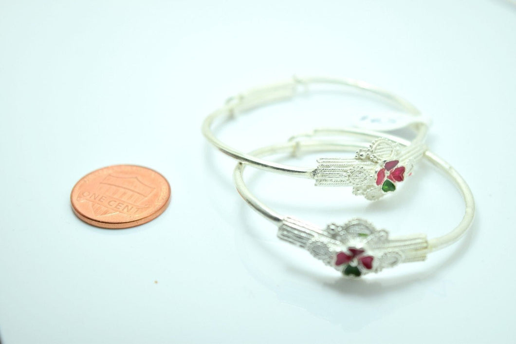 2PC HANDMADE Baby Solid Silver Bracelet 925 sb4 Sterling Children Bangle Cuff | Royal Dubai Jewellers