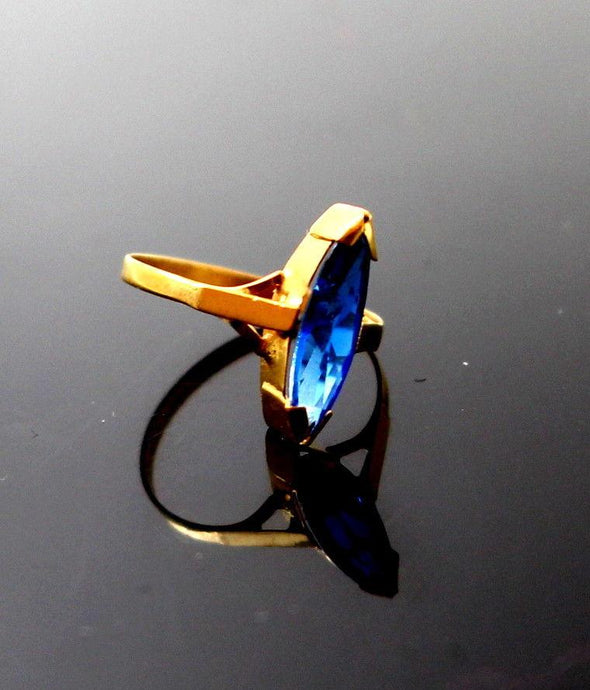22k 22ct Solid Gold BEAUTIFUL BABY Ring Blue Stone SIZE 0.9