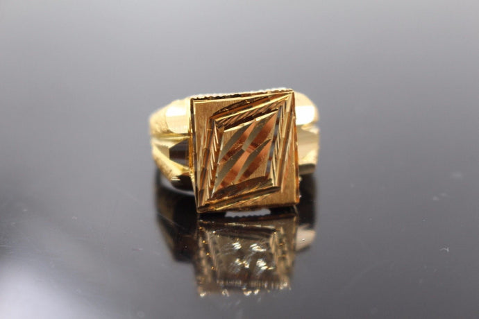 22k Solid Gold ELEGANT MEN Sikh Religious Ring Exquisite Design