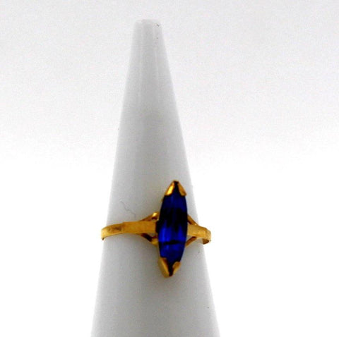 "22k 22ct Solid Gold BEAUTIFUL BABY Ring Blue Stone SIZE 0.9 ""RESIZABLE"" r1229"