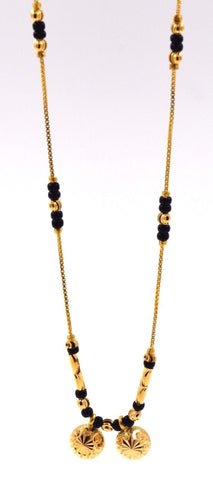"22k Yellow Gold SIMPLE MODERN MANGALSUTRA BLACK BEADS HALF BALL Chain 16"" c503"