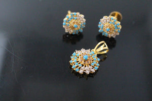 22k 22ct Solid Gold ELEGANT PENDANT SET Natural Turquoise Stone Design p1306