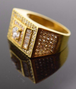 "22k Solid Gold ELEGANT STONE MENS Ring BAND Modern Design ""RESIZABLE"" R309"