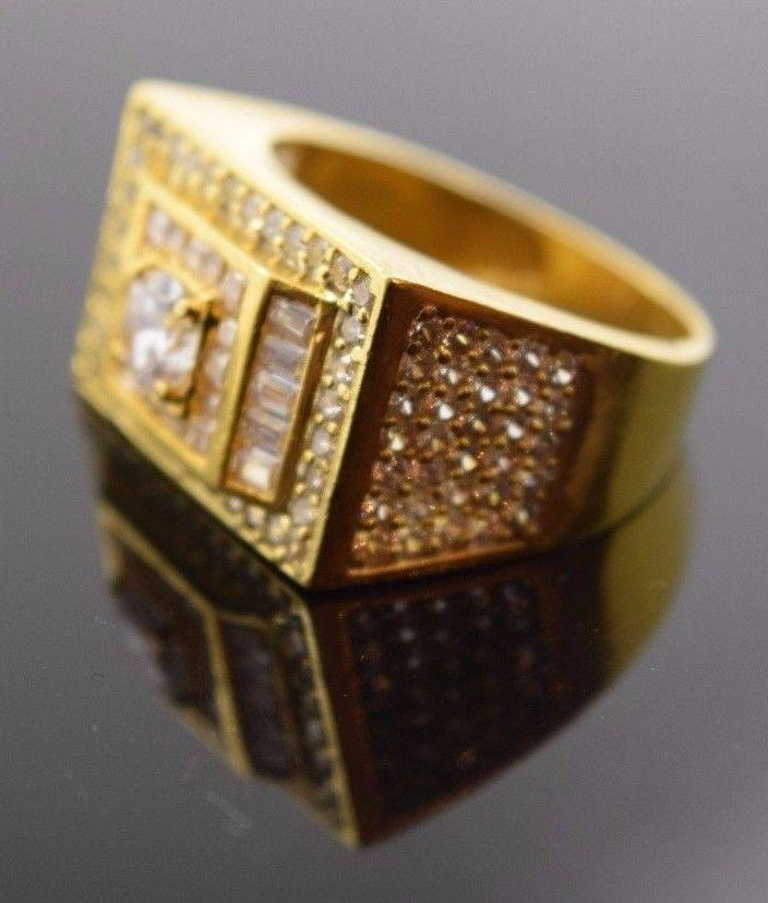 22k Solid Gold ELEGANT STONE MENS Ring BAND Modern Design