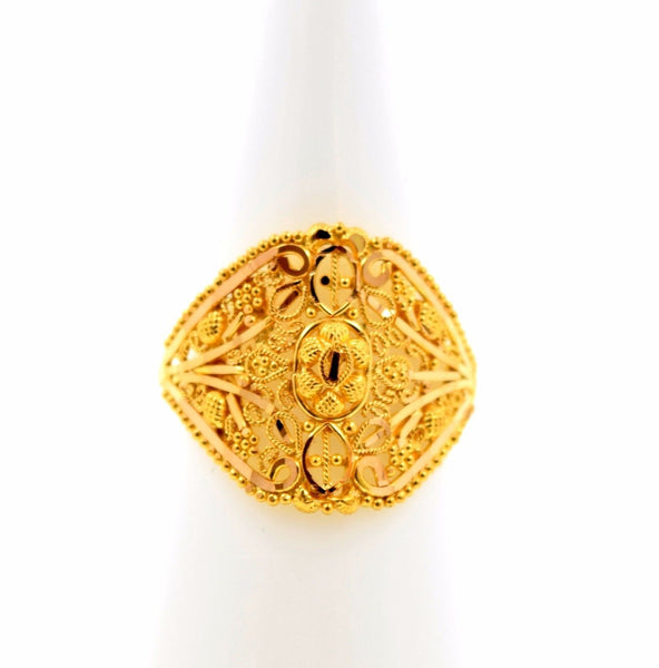 22k 22ct Solid Gold BEAUTIFUL DESIGNER WOMEN Ring RESIZABLE size7.3 r774 - Royal Dubai Jewellers