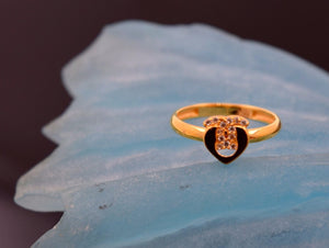 "22k 22ct Solid Gold CUTE CHANNEL HEART BABY KID Ring ""RESIZABLE"" size 4.3 r735"