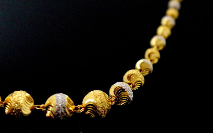 22k Yellow Solid Gold Chain Necklace Two Tone Ball Design Length 24 inch c827