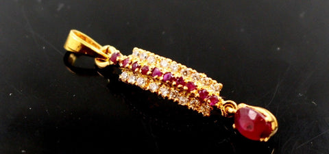 22k 22ct Solid Gold Elegant RUBY ZIRCONIA STONE DANGLING Pendant locket p850