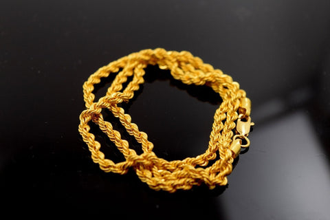 22k Yellow Solid Gold TWISTED Chain Rope Necklace 3mm with white diamond cut