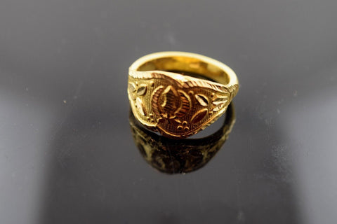 "22k Solid Gold ELEGANT STONE Ring Modern Design ""RESIZABLE"" R412 size 8.5"