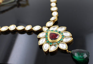 22k 22ct Solid Gold Elegant Traditional Kundan Set Necklace with STONE KS100
