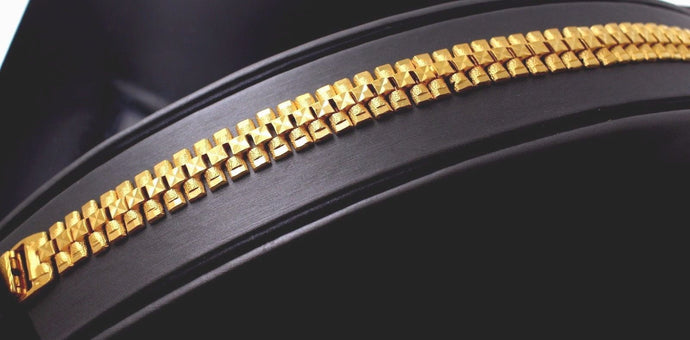 22k 22ct Solid Gold ELEGANT MEN DESIGNER WIDHT Bracelet B703 | Royal Dubai Jewellers