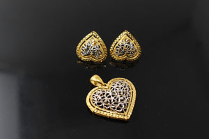 22k 22ct Solid Gold Elegant Two Tone Heart Shape Design Pendant Set p914
