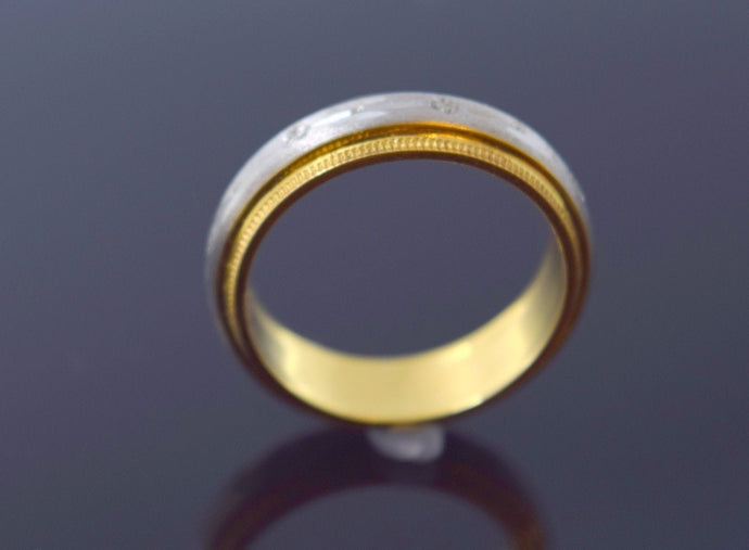 22k 22ct Solid Gold LASER CUT RHODIUM UNISEX BAND Ring SIZE 7.8
