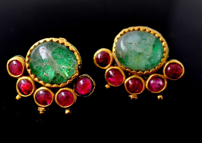 22k Jewelry Solid Gold ELEGANT Antique Earring Natural Stone Ruby Emerald e5283