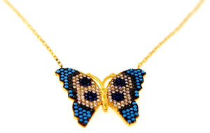21k 21Ct Yellow Gold Chain Butterfly Zirconia Blue stone Pendent Design C877