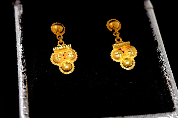 22k 22ct Solid Gold FANCY LONG DROP DESIGN DANGLING EARRINGS E2048