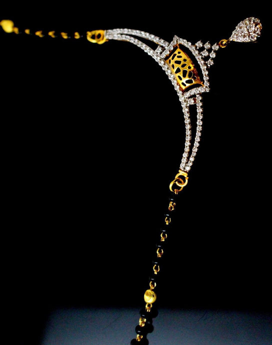 22k 22ct Yellow Solid Gold Chain BLACK BEADED MANGALSUTRA CHAIN NECKLACE c866
