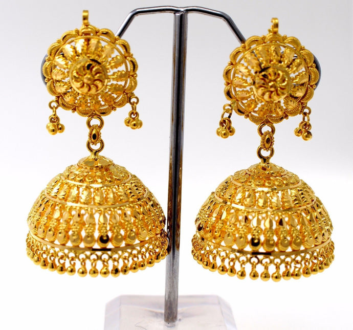 22k 22ct Jewelry Solid Gold ELEGANT LONG JHUMKE DANGLING Earring e5099
