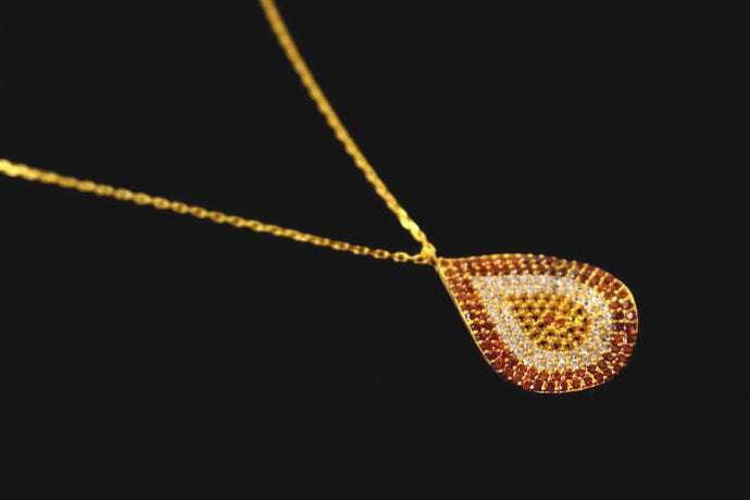 22k 22ct Gold Yellow BEAUTIFUL THIN LIGHT CHAIN WTH PENDANT LENGHT 18 c767 - Royal Dubai Jewellers