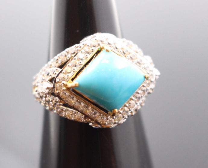 22k Jewelry Solid Gold ELEGANT Turquoise STONE Ring Size 7.5